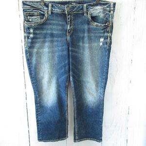 Silver Jeans Elyse Capri Crop Dark Distressed